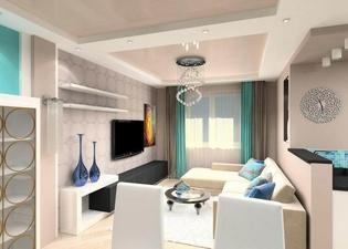 Стильная гостиная в светлых тонах
