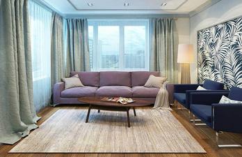 Гостиная с мягким диваном и окнами