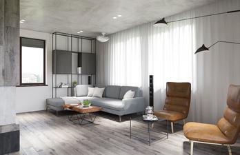Гостиная в светло-серых тонах с мягким диваном
