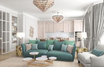 Гостиная с мягким ярким диваном