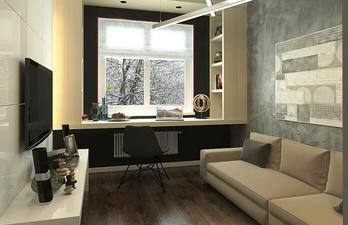 Гостиная с мягким диваном и телевизором