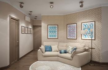 Гостиная в бежевом цвете с мягким диваном