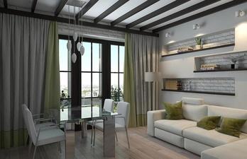 Гостиная в светлых тонах с мягким диваном