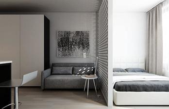 Комната в светлых тонах с кроватью
