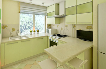Светло-зелёная кухня с окном