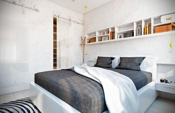 Спальня в светлых тонах с книжной полкой