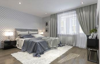 Спальня в серых тонах с балконом