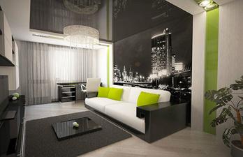 Гостиная в черно-белом цвете с диваном