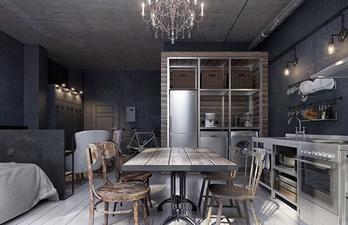 Тёмная кухня с обеденной зоной