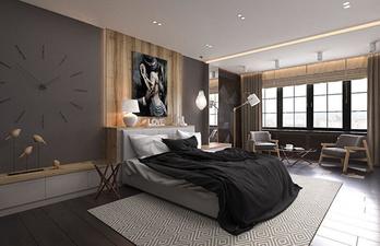 Спальня в тёмных тонах с большим окном
