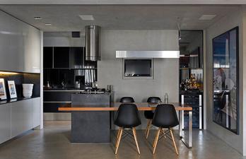 Тёмно-серая кухня с телевизором
