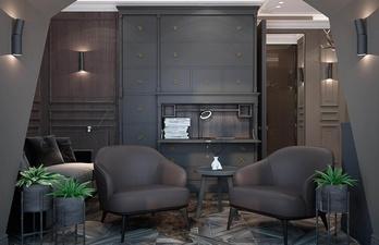 Гостиная в тёмно-серых тонах с креслами