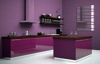 Кухня в стиле модерн в фиолетовых тонах