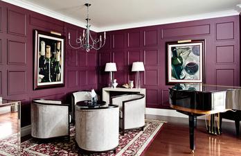 Гостиная в тёмно-фиолетовых тонах