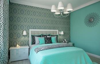 Светлая спальня в бирюзовом цвете