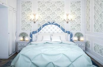 Спальня в голубых тонах в стиле прованм