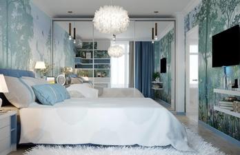 Спальня в голубых тонах с телевизором