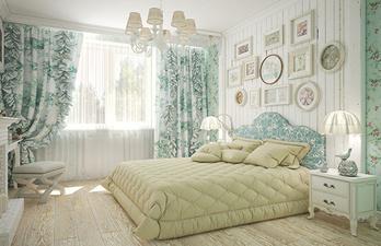 Спальня в светлых тонах с большим окном