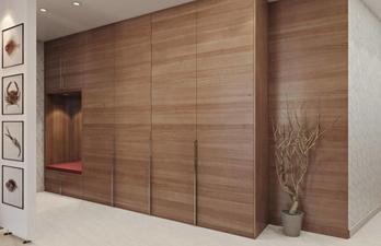 Светло-коричневая прихожая со шкафом