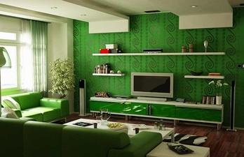 Гостиная в тёмно-зелёных тонах с окном