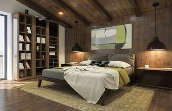 Спальня в тёмно-коричневых тонах