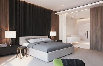 Спальня в тёмно-коричневых тонах с ванной