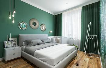Красивая тёмно-зелёная спальня