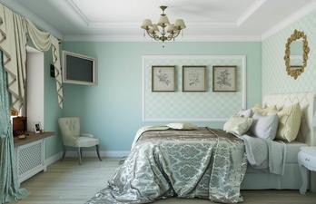 Бирюзовая спальня с белым потолком