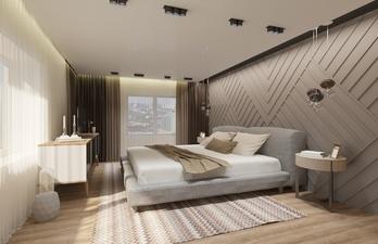 Спальня в светлых тонах с большой кроватью