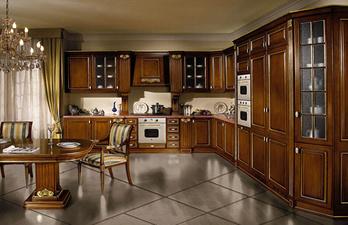 Кухня в тёмно-коричневых тонах со встроенной техникой