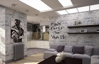 двухкомнатная квартира с серым диваном