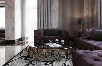 Светлая гостиная с тёмными диванами
