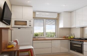 кухня с белым потолком