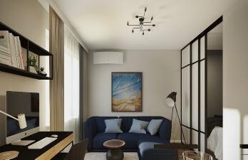 квартира с синим диваном