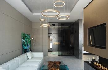 гостиная с белым диваном
