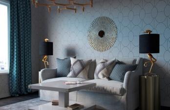 гостиная с серым столом
