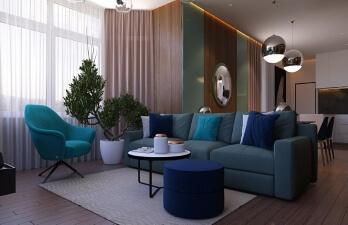 зал с синим диваном