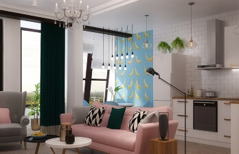квартира с розовым диваном