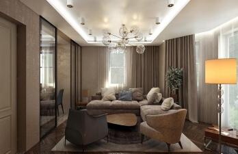 гостиная с коричневым креслом