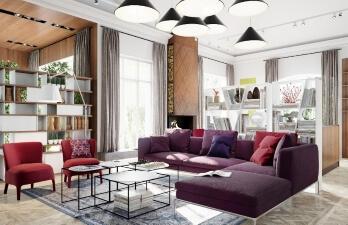 гостиная комната с книжной полкой