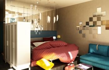 гостиная с кроватью