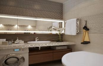 Ванная комната с красивой подсветкой зеркала