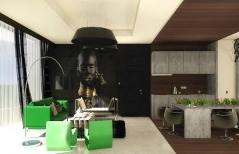 гостиная с рисунком на стене
