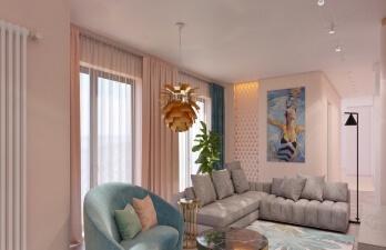 квартира с серым диваном