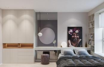 спальня с белым шкафом