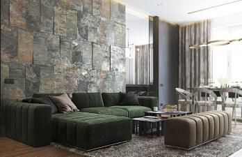 гостиная с зеленым диваном