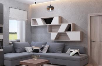 студия с серым диваном